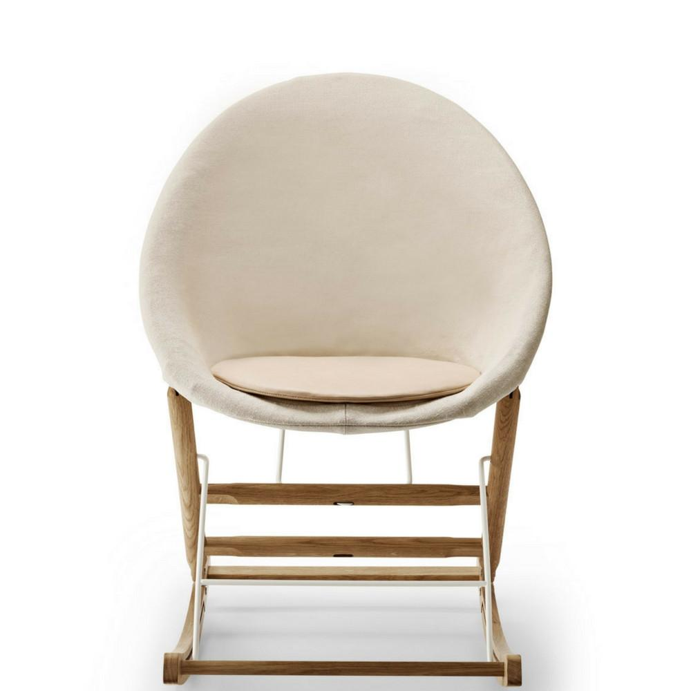 Anker Bak Nest Rocking Chair With Bleached Canvas And Leather Seat Cushion  Carl Hansen And Son