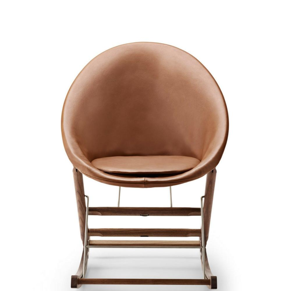 Anker Bak Nest Rocking Chair With Leather Frame And Leather Seat Cushion  Carl Hansen And Son