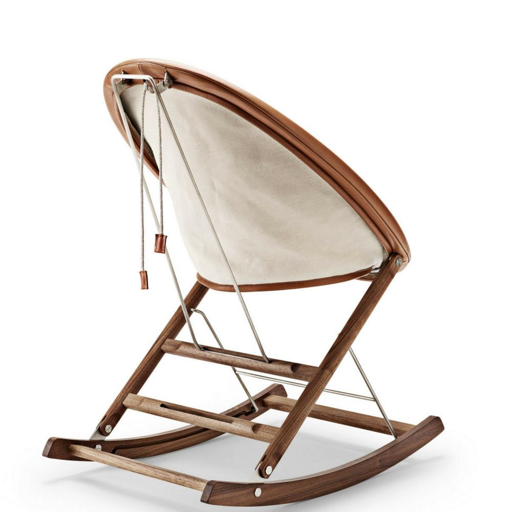 Anker Bak Nest Rocking Chair With Leather Frame And Leather Seat Cushion  Back View Carl Hansen