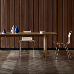 Carl Hansen and Son Borge Mogenson Hunting Table BM1160 in room with Poul Kjaerholm PK1 Chairs