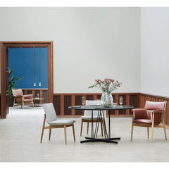 Carl Hansen EOOS Embrace Dining Table and Lounge Table in room with Embrace Chairs