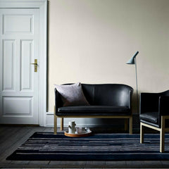 Mogens Koch Model 51 Easy Chair in Black Leather in room with Model 52 Sofa Carl Hansen and Son