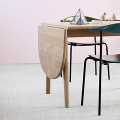 Carl Hansen Wegner CH002 Dropleaf Dining Table Detail in room with CH88 dining chairs