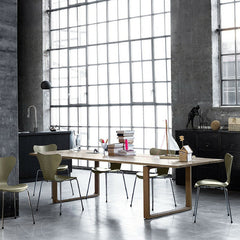 Cecilie Manz Essay Dining Table with Arne Jacobsen Series 7 Chairs by Fritz Hansen