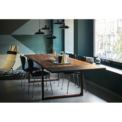 Cecilie Manz Essay Table with Extension Leaf in Room with Kaiser Idell Pendant Lights Fritz Hansen