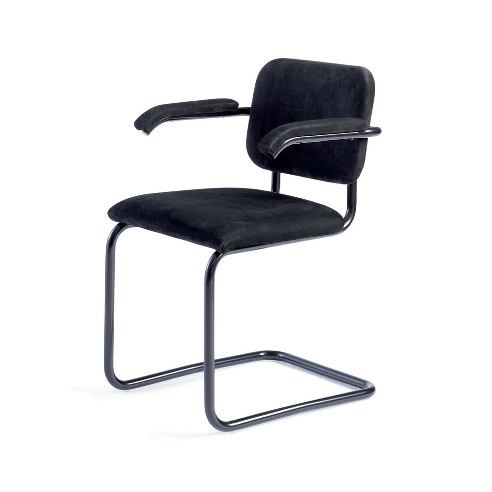 Cesca Chair Upholstered in Black Marcel Breuer for Knoll
