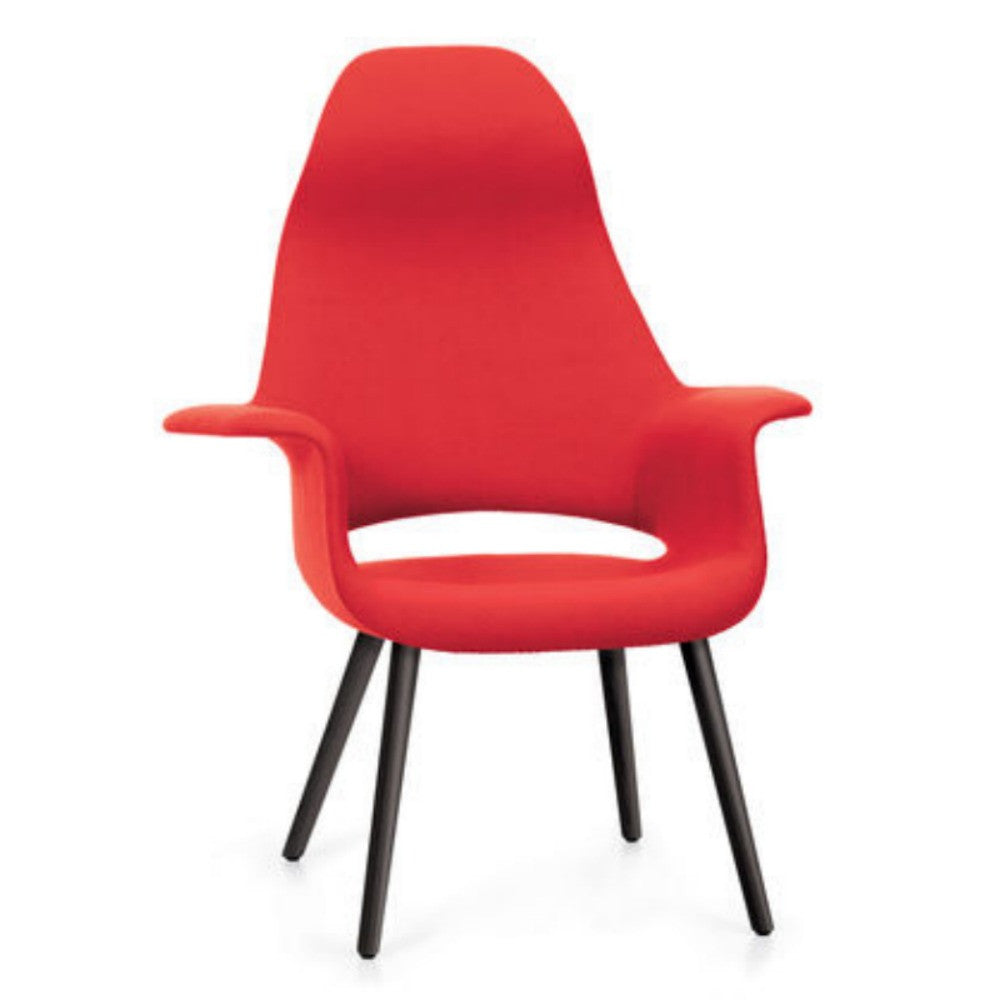 Charles and Ray Eames Organic Highback Chair Red with Black Legs Vitra
