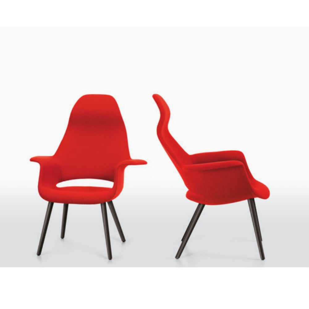 Charles And Ray Eames Organic Highback Chairs Red With Black Legs Vitra