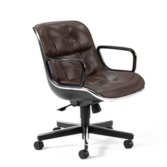 Knoll Charles Pollock Executive Chair Dark Brown Leather