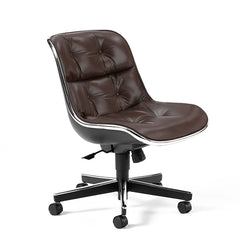 Knoll Charles Pollock Executive Chair Dark Brown Leather Armless