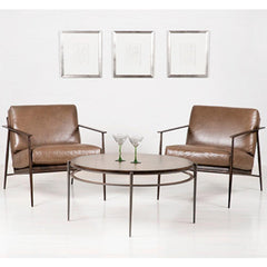 Charleston Forge Emmitt Lounge Chairs in Tobacco Brown Leather in room with Collins Cocktail Table