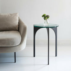 Charleston Forge Triton Drink Table by Katy Skelton in room with velvet sofa