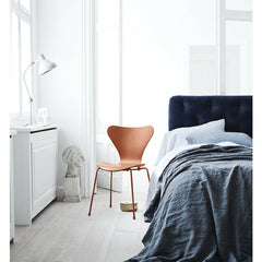 Chevalier Orange Monochrome Series 7 Chair in Bedroom Arne Jacobsen Fritz Hansen