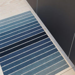 Chilewich Block Stripe Denim Shag Mat in Kitchen