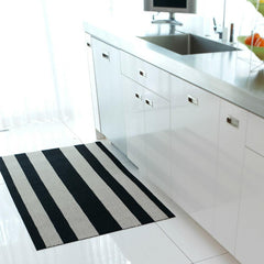 Chilewich Black and White Bold Stripe Shag Floor Mat in Kitchen