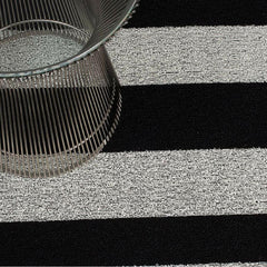Chilewich Black/White Bold Stripe Shag Floor Mat with Knoll Platner Side Table