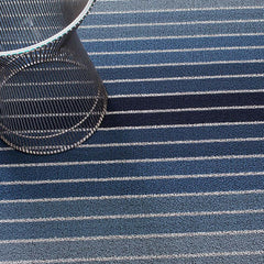 Chilewich Block Stripe Indoor/Outdoor Shag Floor Mat in Denim with Knoll Platner Side Table