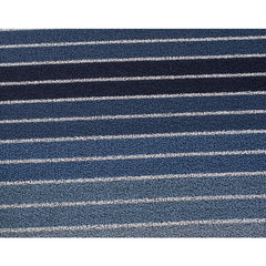Chilewich Block Stripe Indoor/Outdoor Shag Mat in Denim