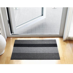 Chilewich Bold Stripe Shag Mat Silver Black in Entryway