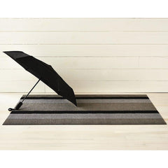 Chilewich Bold Stripe Doormat Silver Black with Umbrella