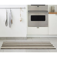 Chilewich Bold Stripe Shag Floor Mat Pebble in Kitchen
