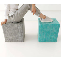 Chilewich Cubes in Basketweave Oyster and Mini Basketweave Turquoise