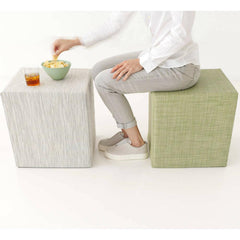 Chilewich Cubes in Bamboo Chalk and Mini Basketweave Dill