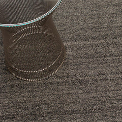 Chilewich Black Tan Heathered Shag Floor Mat with Knoll Platner Side Table