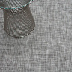 Chilewich Mini Basketweave Woven Floor Mat in Gravel with Knoll Platner Side Table