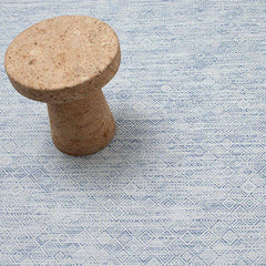 Chilewich Mosaic Floor Mat in Blue with Vitra's Jasper Morrison Cork Stool