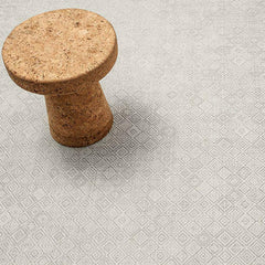 Chilewich Mosaic Floor Mat in Grey with Vitra's Jasper Morrison Cork Stool
