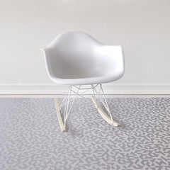Chilewich Prism Floor Mat Silver styled with Eames Rocking Chair