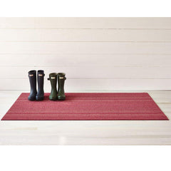 Chilewich Skinny Stripe Shag Mat Raspberry with boots