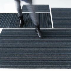 Chilewich Skinny Stripe Doormat, Utility Mat, Big Mat, and Runner in Blue