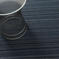 Chilewich Skinny Stripe Shag Floor Mat in Blue with Knoll Platner Side Table