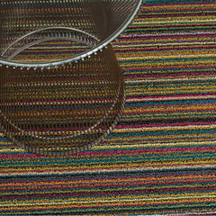 Chilewich Bright Multi Skinny Stripe Shag Floor Mat with Knoll Platner Side Table