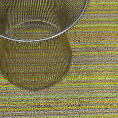 Chilewich Skinny Stripe Shag Floor Mat in Citron with Knoll Platner Side Table