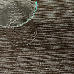 Chilewich Skinny Stripe Shag Floor Mat in Mushroom with Knoll Platner Side Table
