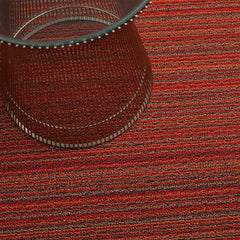 Chilewich Skinny Stripe Shag Floor Mat in Orange with Knoll Platner Side Table