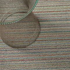 Chilewich Skinny Stripe Shag Floor Mat in Soft Multi with Knoll Platner Side Table
