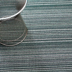 Chilewich Skinny Stripe Shag Floor Mat in Spearmint with Knoll Platner Side Table