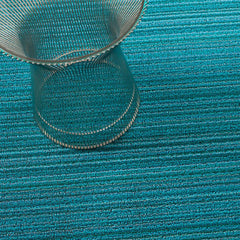 Chilewich Skinny Stripe Shag Floor Mat in Turquoise with Knoll Platner Side Table