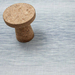 Chilewich Wave Floor Mat in Blue with Vitra Jasper Morrison Cork Stool