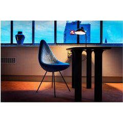 Christian Dell Kaiser Idell Tiltable Table Lamp 6556T with Jaime Hayon Analog Table and Arne Jacobsen Drop Chair Room 506 Fritz Hansen