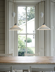 Cobb Rise & Fall Large Pendant Light over a Farm Table Original BTC