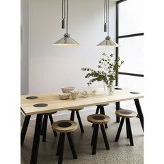 Codie Rise & Fall Polished Aluminum Pendant over Dining Table Original BTC