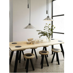 Codie Rise & Fall Polished Aluminum Pendant Staggered over a Dining Table Original BTC