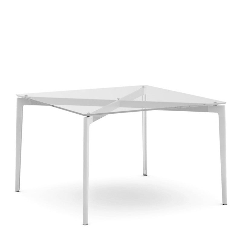 Daniel Stromborg Square Dining Table Glass Top White Base Knoll