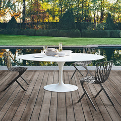 David Adjaye Washington Skeleton Aluminum Side Chair Tulip Table Setting Knoll