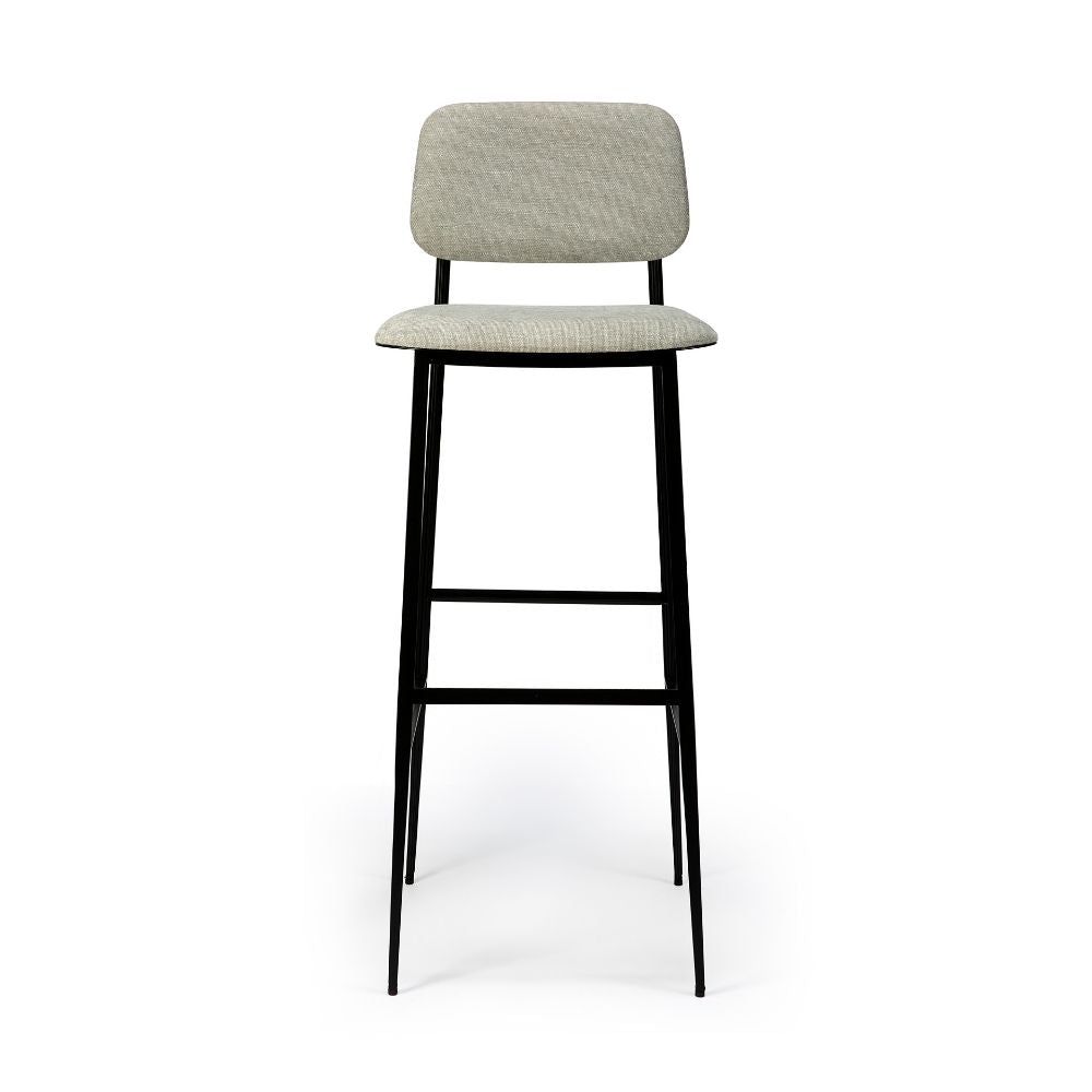 DC Barstool with Light Grey Upholstery Seat by Ethincraft